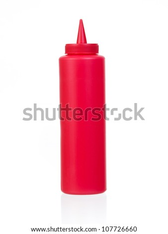 ketchup bottle isolated on a white background - stock photo