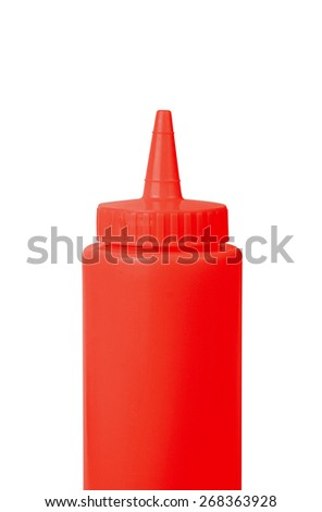 ketchup bottle on a white background - stock photo