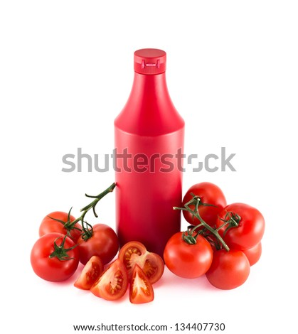 Ketchup copyspace plastic bottle surrounded with tomatoes composition isolated over white background