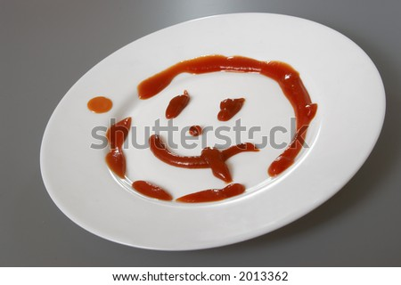 ketchup on the plate - stock photo