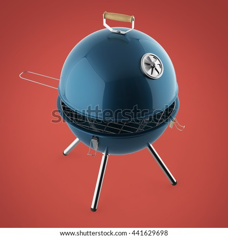 kettle barbecue charcoal grill with folding metal lid for roasting, BBQ 3d render isolated talk bubble smile summer