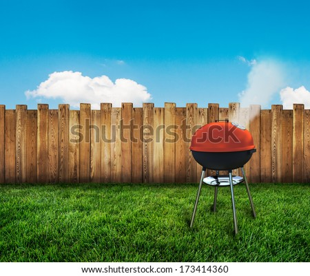 kettle barbecue grill on backyard - stock photo