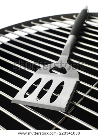 Kettle BBQ with tools on white - stock photo