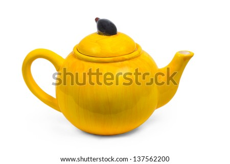 kettle ceramic yellow teapot tea isolated on white background