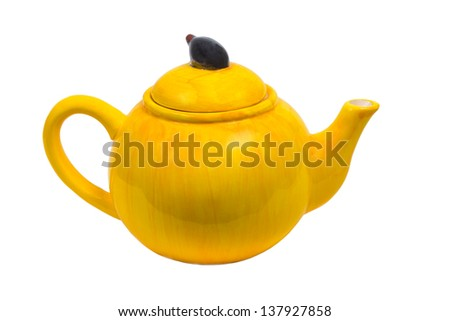 kettle ceramic yellow teapot tea isolated on white background clipping path