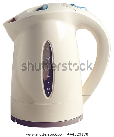 kettle electric white kitchen water plastic tea domestic object hot - stock photo