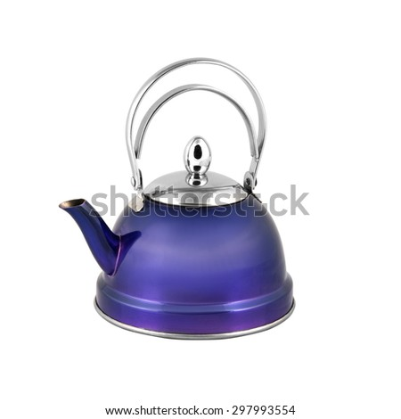 kettle for boiling isolated on white background - stock photo
