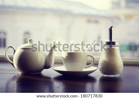 kettle for tea in a cafe - stock photo