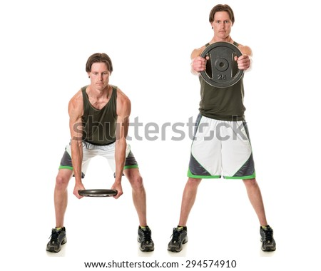 Kettle plate swing exercise. Studio shot over white. - stock photo