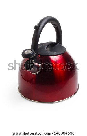 kettle red isolated utensils appliance kitchen asian hot design teapot camping boiling water boil - stock photo