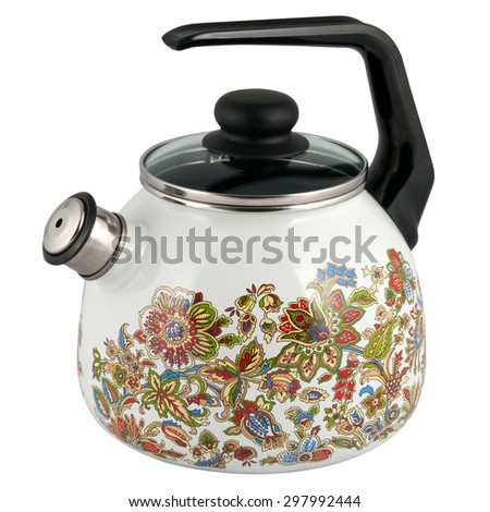 kettle to boil with a whistle isolated on white background - stock photo