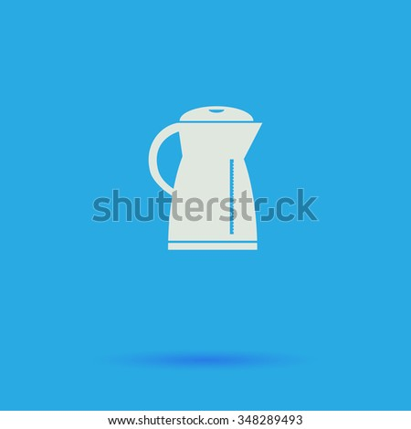 Kettle White flat simple pictogram on blue background with shadow