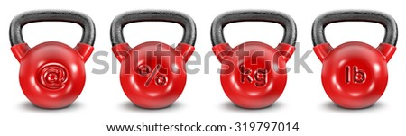 Kettlebell symbols / 3D render of heavy kettlebells with symbols, easy to colorize - stock photo