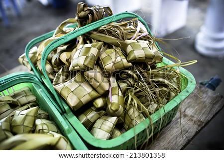 Ketupat & Satay - stock photo