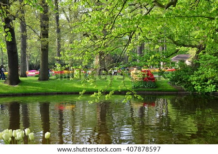 Keukenhof garden, Netherlands -May 10: Colorful flowers and blossom in dutch spring garden Keukenhof which is the world's largest flower garden. Keukenhof Garden, Lisse, Netherlands - May 10, 2015