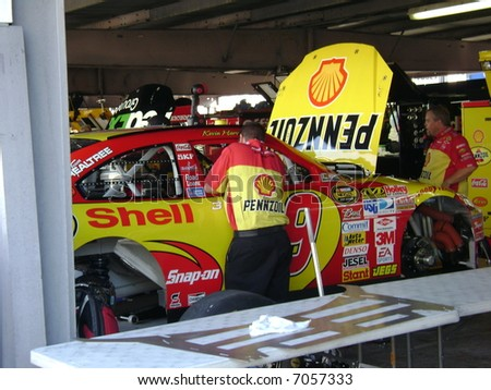 kevin harvick`s car in the garage