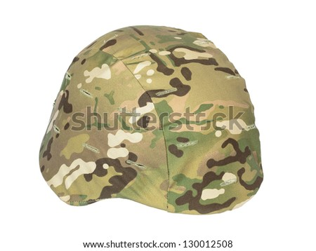 Kevlar helmet multicam camouflage isolated on white