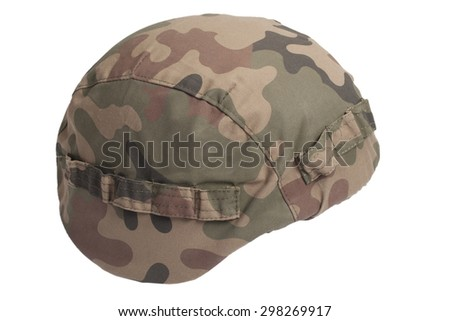 kevlar helmet with camouflage cover