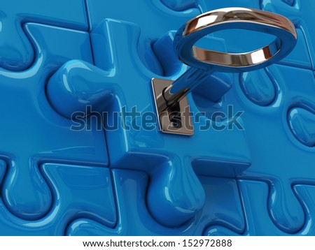 Key and blue puzzle pieces - stock photo