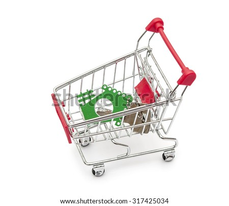 Key and house models in shopping cart on white background - stock photo