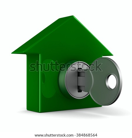 key and house on white background. 3D image - stock photo