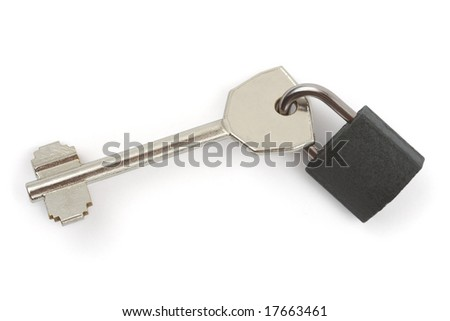 Key and lock isolated on white background