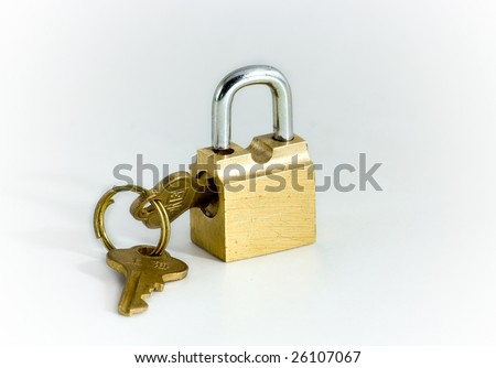 key and lock of the wanted colour on white background