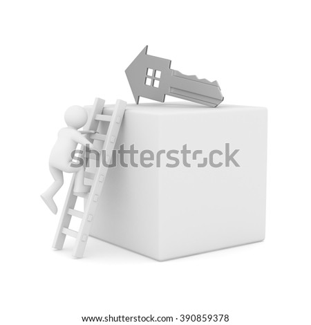 key and man on white background. 3D image - stock photo