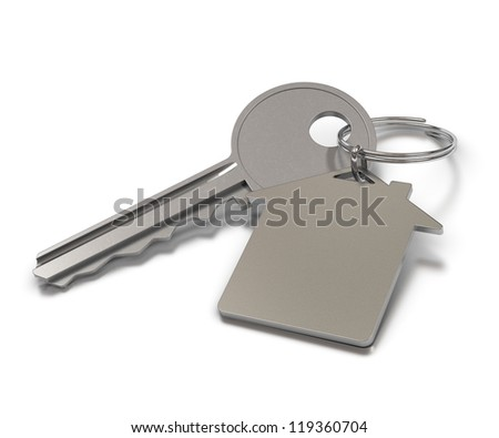 key and metal keyring with room for text over white background, home shape