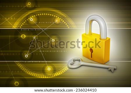 Key and padlock - stock photo