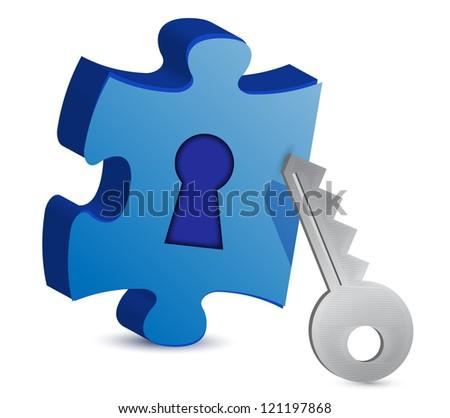 Key and puzzle illustration on white background - stock photo