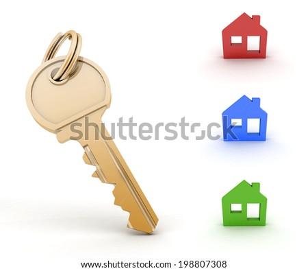 Key and set of houses models. 3d illustration on white background - stock photo