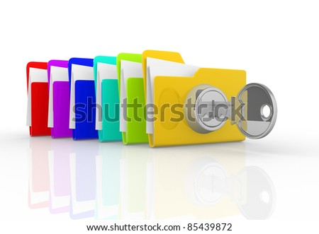 Key and the stack of folders. This is a 3d render illustration - stock photo