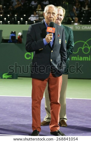KEY BISCAYNE, FL-MAR 26: Tennis coach Nick Bollettieri receives his International Tennis Hall of Fame ring at Crandon Park Tennis Center on March 26, 2015 at the  Miami Open in Key Biscayne, Florida. - stock photo