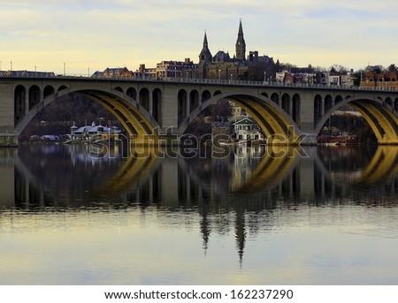 Key Bridge at sundown, Georgetown, Washington DC, USA - stock photo