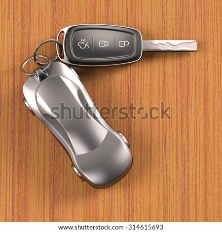 Key car and key ring over the table. Clipping path included.