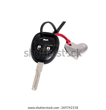 key-chain in the shape of a heart with white background - stock photo