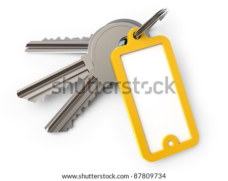key chain, on a white background, 3d render - stock photo