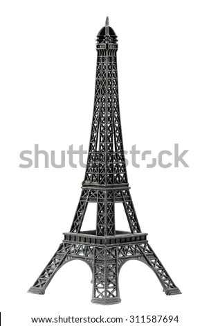 Key chain souvenir from metal Eiffel Tower Paris isolated on white