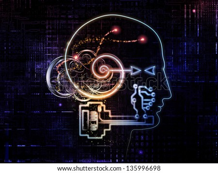 Key Concept series. Background design of human head, key symbol and fractal design elements on the subject of encryption, security, digital communications, science and technology - stock photo
