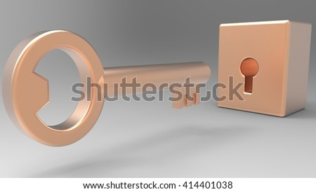 Key. 3D illustration. 3D CG.