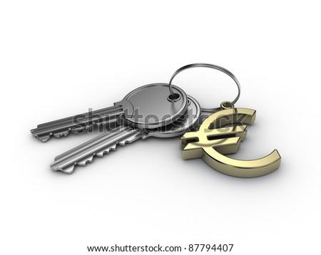 key euro on white background - stock photo