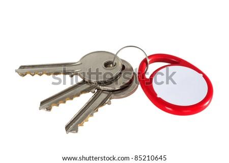 Key fob and keys isolated on white background - stock photo