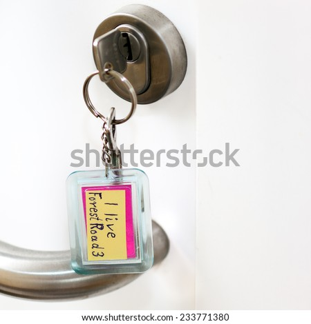 Key from a dementia ... I live forest road 3 - stock photo