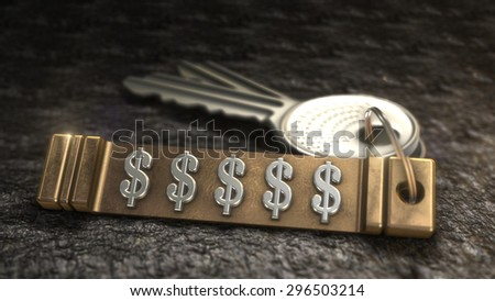 Key from dollar sign Concept. Keys with Keyring. 3D rendering - stock photo