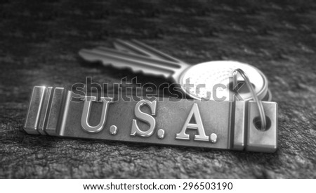 Key from USA Concept. Keys with Keyring. 3D rendering - stock photo