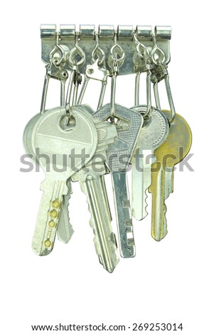 key holder wallet isolated on white background. only ring and key - stock photo