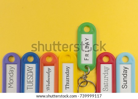 Key holders with names of the day of the week on them