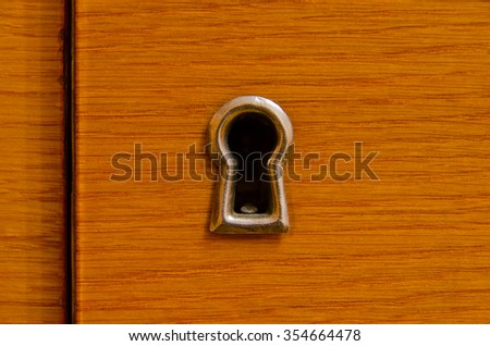 Key hole in old wooden door without key