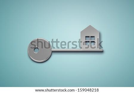 key house  on blue background - stock photo